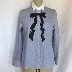 Kate Spade like new button down stripe blouse S/M